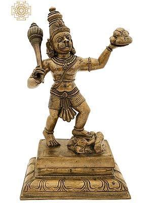 "12"" Hanuman Ji Lifting Sanjeevani Booti Mountain | Handmade | Madhuchista Vidhana (Lost-Wax) | Panchaloha Bronze from Swamimalai"