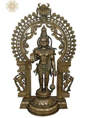 "45"" Large Ashirwad Anjaneya (Hanuman Ji) with Kirtimukha Prabhavali  Handmade | Madhuchista Vidhana (Lost-Wax) | Panchaloha Bronze from Swamimalai"