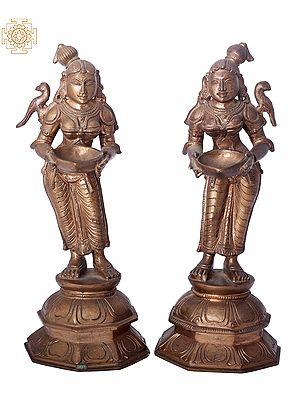 "9"" Paavai Vilakku (Deep Lakshmi) | Handmade | Madhuchista Vidhana (Lost-Wax) | Panchaloha Bronze from Swamimalai"