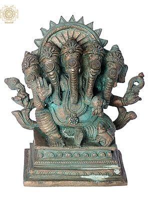 "6"" Panchamukhi Ganesha   Handmade   Madhuchista Vidhana (Lost-Wax)   Panchaloha Bronze from Swamimalai"