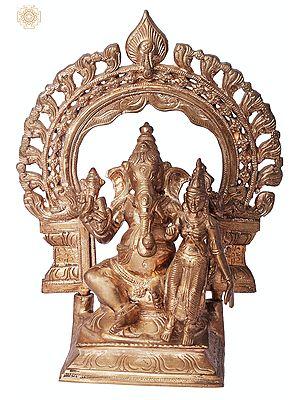 """9"""" Shakti Ganpati   Handmade   Madhuchista Vidhana (Lost-Wax)   Panchaloha Bronze from Swamimalai"""