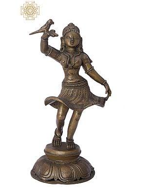 "10"" Dancing Devi Meenakshi | Handmade | Madhuchista Vidhana (Lost-Wax) | Panchaloha Bronze from Swamimalai"