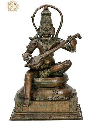 "26"" Hanuman Ji Playing Veena | Handmade | Madhuchista Vidhana (Lost-Wax) | Panchaloha Bronze from Swamimalai"