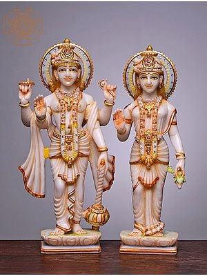 """15"""" Lord Bhagwan Vishnu and Lakshmi Statue   Handmade   White Marble Vishnu and Lakshmi Statue   Lakshmi Narayan Statue"""