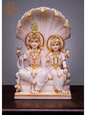 """15"""" Vishnu and Lakshmi Seated on Sheshnag   Handmade   White Marble Vishnu Lakshmi Statue   Narayan Lakshmi Idol"""