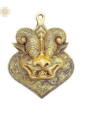 "6"" Auspicious Kirtimukha Mask | Wall Hanging | Brass Statue | Handmade | Made In India"
