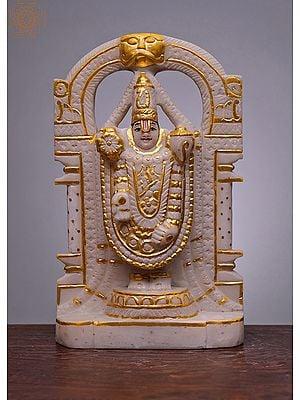 "12"" Bhagwan Tirupati Balaji   Handmade   White Marble Tirupati Balaji Statue   Venkateshwara   Vishnu Statue   Incarnation of Vishnu"