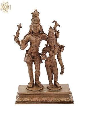 "4.8"" Small Lord Shiva as Pashupatinath with Goddess Parvati | Handmade | Madhuchista Vidhana (Lost-Wax) | Panchaloha Bronze from Swamimalai"