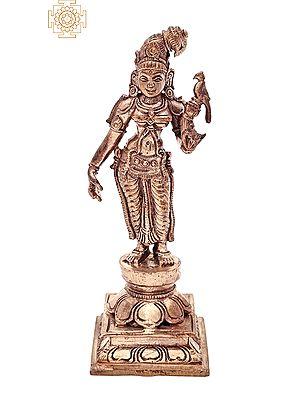 "5.5"" Small Devi Andal | Handmade | Madhuchista Vidhana (Lost-Wax) | Panchaloha Bronze from Swamimalai"