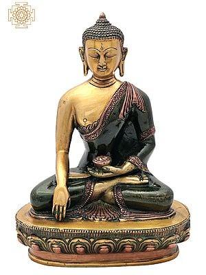 "10.5"" Buddha Brass Statue   Lord Buddha in Mara Vijay Mudra Brass Statue   Medicine Buddha   Handmade   Made In India"