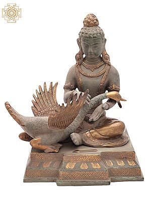 """10.2"""" Tibetan Buddhist Deity Siddhartha Nursing the Wounded Swan (Kindness Personified)   Handemade   Brass Statue   Made in India"""