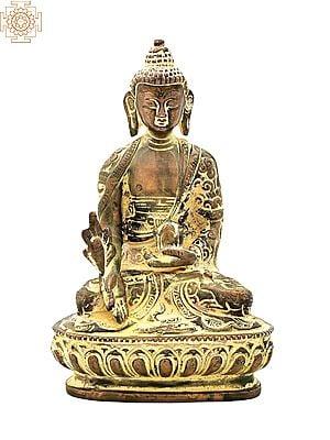 "6"" Buddha Brass Statue   Lord Buddha in Mara Vijay Mudra Brass Statue   Medicine Buddha   Handmade   Made In India"
