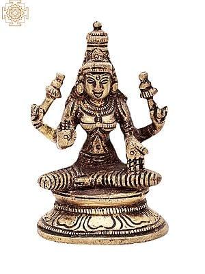 "3.2"" Goddess Lakshmi Statue | Handmade |  Lakshmi Brass Statue | Goddess of Money | Made in India"