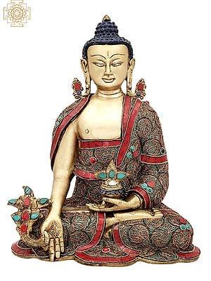 "13"" Tibetan Buddhist Healing Buddha | Medicine Buddha | Inlay Work with Copper Wire | Brass Statue | Handmade | Made In India"
