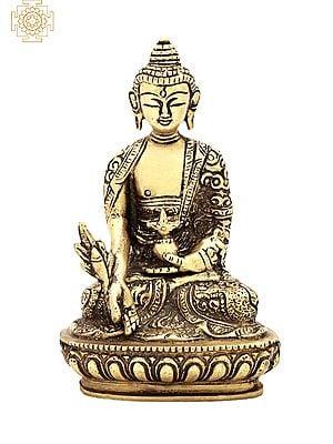 "5"" Lord Buddha Brass Statue   Handmade   Buddha in Meditation Brass Idol   Home Decor Items   Made In India"