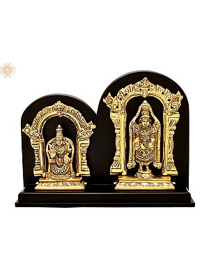 "9"" Lord Venkateswara as Balaji At Tirupati With Goddess Lakshmi | Brass Statue With Wood | Handmade | Made In Indi"