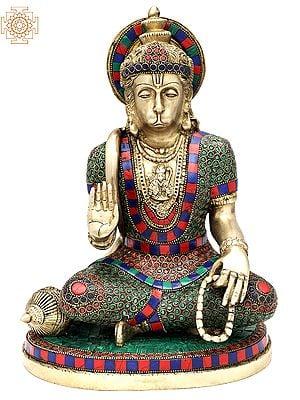 "12.5"" Beautiful Stone Inlayed Hanuman with Lord Rama Residing in His Chest | Handmade | Lord Hanuman Ji Inlay Brass Statue | Made in India"