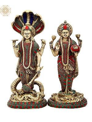 "18"" Lord Vishnu and Lakshmi Ji (Pair) | Inlay Work | Brass Statue | Handmade | Made In India"