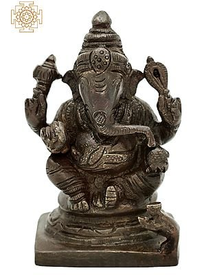 "3.5"" Small Bhagawan Ganesha Seated on Pedestal | Ganesha Brass Statue | Handmade | Made In India"