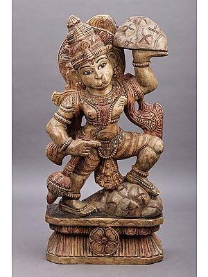 "36"" Large Veer Hanuman Ji Lifting the Sanjeevani Mountain | Wood Veer Hanuman | Handmade Art | Made in South India"