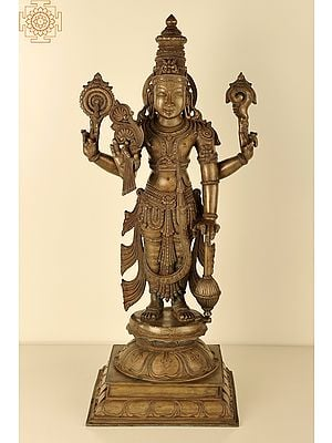 "27"" Superfine Lord Vishnu   Handmade   Madhuchista Vidhana (Lost-Wax)   Panchaloha Bronze from Swamimalai"