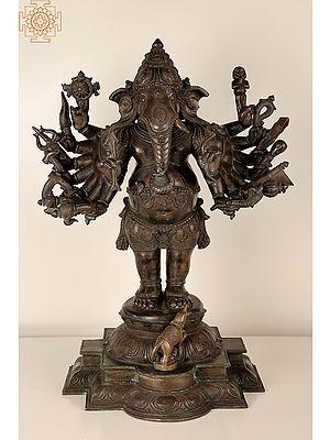 """23"""" Bhagawan Rakshak Ganesha    Handmade   Madhuchista Vidhana (Lost-Wax)   Panchaloha Bronze from Swamimalai"""