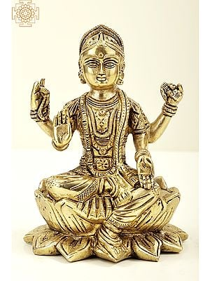 "7"" Goddess Lakshmi Seated on Lotus | Brass Goddess Lakshmi | Brass Statue | Handmade | Made In India"