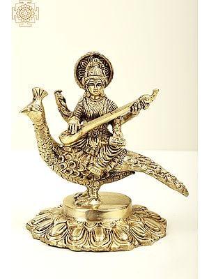 "7"" Gooddess Saraswati Seated on Peacock with Veena   Brass Goddess Saraswati   Brass Statue   Handmade   Made In India"