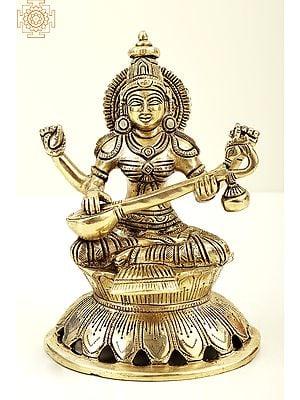 "8"" Gooddess Saraswati Seated on Lotus with Veena   Brass Goddess Saraswati   Brass Statue   Handmade   Made In India"