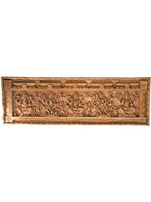 A Rare Shaivite Wooden Temple Panel (From the Left - Shri Ganesha, Shiva Destroying Andhakasura, Seated Parvati, Durga Destroying Mahishasur and Seated Shiva with Ganas and Attendants)