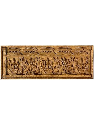 A Rare  Wooden Temple Panel (From the Left - Lakshmi, Shiva Destroying Andhakasura, Seated Parvati, Durga Destroying Mahishasur and Seated Saraswati with Ganas and Attendants)