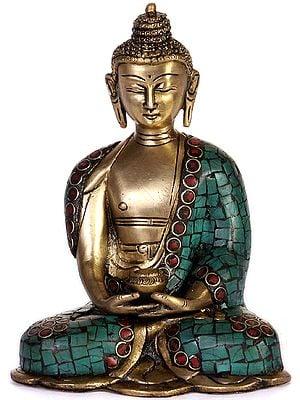 Buddha In Dhyana Mudra with Pindapatra (Robe Inlaid with Gemstones)