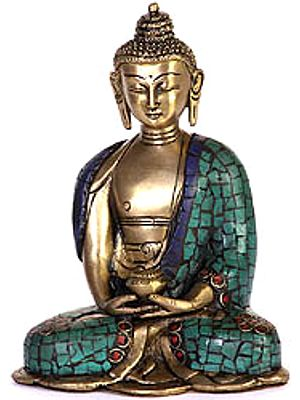 Buddha In Meditation with Pindapatra (Robe Inlaid with Gemstones)