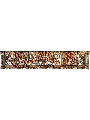 Dancing Radha Krishna with Central Vishnu, Gopis and Yali Figures (Panel)