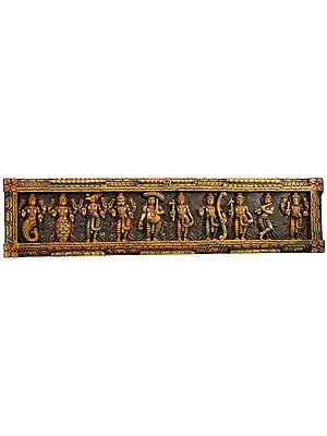 Dashavatara Panel -Ten Incarnations of Lord Vishnu<br>(From the Left - Matshya, Kurma, Varaha, Narasimha, Vaman, Parashurama, Rama, Balarama, Krishna and Kalki)