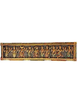 Dashavatara Panel -Ten Incarnations of Lord Vishnu (From Left - Matshya, Kurma, Varaha, Narasimha, Vaman, Parashurama, Rama, Balarama, Krishna and Kalki)