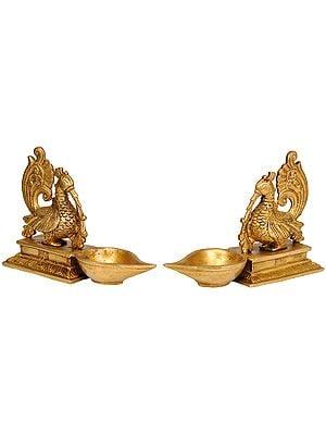 Pair of Mayur (Peacock) Lamps