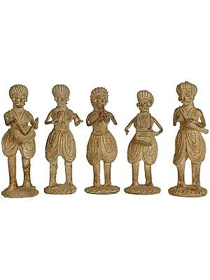 Set of Five Tribal Musicians  (Folk Statue from Bastar)