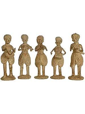 Set of Five Tribal Musicians  (Folk Statue from Bastar)