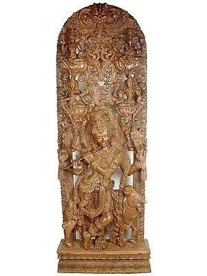 Fluting Krishna in the Divine Cosmos