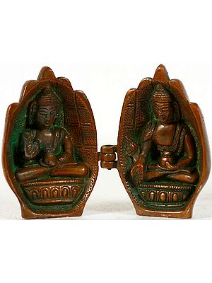 Tibetan Buddhist Folded Hands Portable Temple of Medicine Buddha and Preaching Buddha