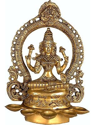 Goddess Lakshmi with Five Lamps and Auspicious Kirtimukha (Griffin) on Apex