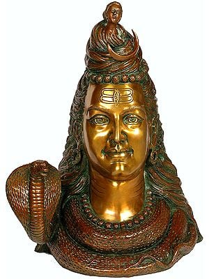 (Large Size) Head of Lord Shiva with Crescent Moon and River Ganga