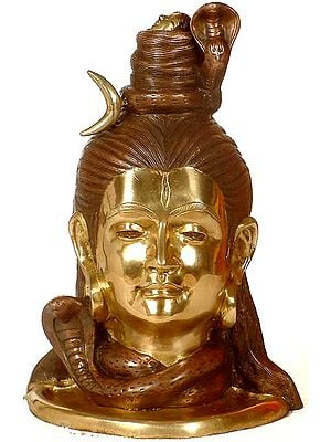 Lord Shiva Head with Crescent Moon