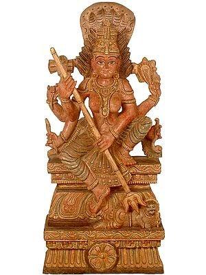 Durga in Ferocious Form Subduing Apasmara