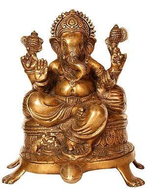 Lord Ganesha Seated on Tortoise Chowki (Auspicious According to Vastu)