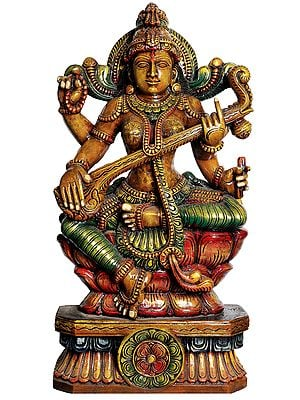 Large Size  Goddess Saraswati Playing on Vina