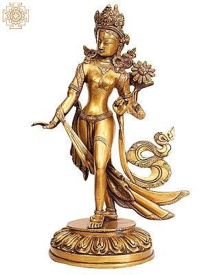 Tibetan Buddhist Goddess Standing Tara Dhoti Engraved with Floral Motifs