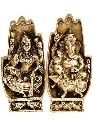 Pair of Hands Depicting Lakshmi Seated on Owl and Ganesha On Rat