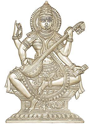 Goddess Saraswati (Wall Hanging Flat Statue)